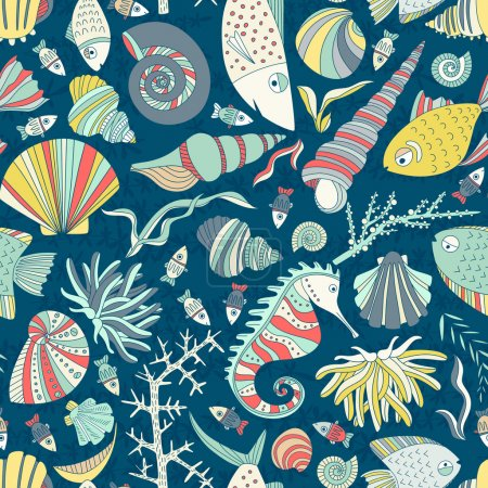 Illustration for Vector seamless pattern with hand drawn fishes, corrals, shells, seaweeds, sea-horse and other underwater creatures. Ocean background. Tropical sea life design. - Royalty Free Image