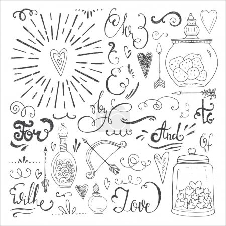 Romantic vector elements. Hand drawn typography, s...