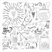 Romantic hand drawn elements