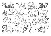 Catchwords and ampersands  hand drawn design elements set - at mr mrs and to with