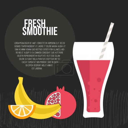 Illustration for Fruit smoothie vector concept. Menu element for cafe or restaurant with energetic fresh drink made in flat style. Fresh juice for healthy life. Organic raw shake. - Royalty Free Image