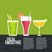 Fruit smoothie vector concept Menu element for cafe or restaurant with energetic fresh drink made in flat style Fresh juice for healthy life Organic raw shake