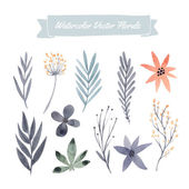 Set of hand painted watercolor vector flowers and leaves Design elements for summer wedding spring congratulation card Perfect floral elements for save the date card Unique artwork for your design