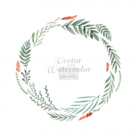 Illustration for Hand painted watercolor wreath made in vector. Unique decoration for greeting card, wedding invitation, save the date. Isolated floral design. Summer flowers with space for your text. - Royalty Free Image