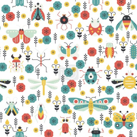pattern with bugs and insects