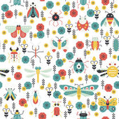 Beautiful geometric pattern with bugs and insects Colorful seamless texture for your design made in vector