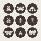 Silhouette collection of insects and bugs made in vector Bug symbols nature elements