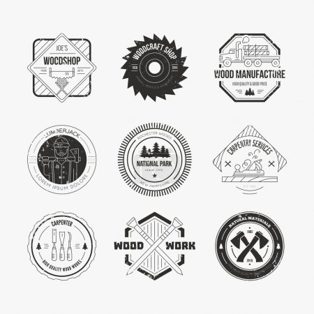 Set of vintage carpentry logotypes