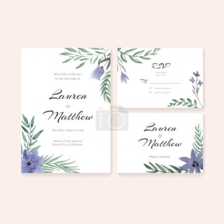 Illustration for Unique gentle vector wedding cards template with watercolor. Wedding invitation or save the date, RSVP and thank you card for bridal design. Vector watercolor postcard collection with floral decoration. - Royalty Free Image