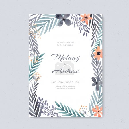 Illustration for Elegant wedding card design with handpainted watercolor flowers. Artistic floral summer or spring bridal design. - Royalty Free Image