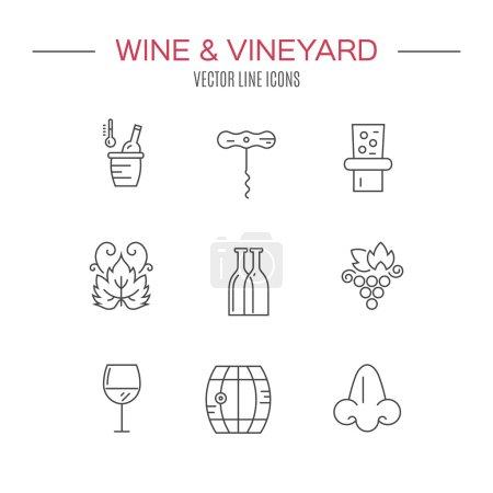 Illustration pour Ensemble moderne d'icônes de ligne vectorielle avec différents éléments de vin et de cave. Icônes de ligne vectorielle - image libre de droit