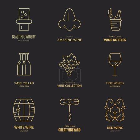 Illustration pour Différents éléments de conception de vin et de vignoble fabriqués dans un vecteur de style ligne moderne. Logos et badges pour le vin - image libre de droit