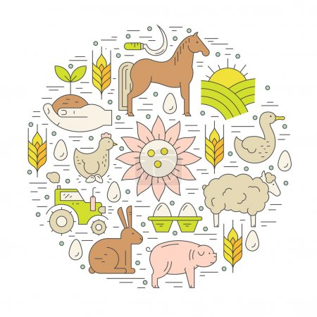 Farming concept with agricultural symbols