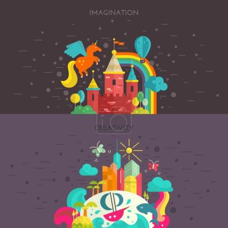 Illustration pour Concept d'imagination et de créativité. Illustration de vacances de style plat avec château de fées et île tropicale. Voyage autour du monde bannière . - image libre de droit