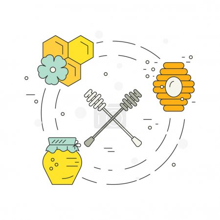 Illustration for Bright vector concept with honey dipper, jar, hive and honeycomb. Perfect design element for flyer or banner. - Royalty Free Image