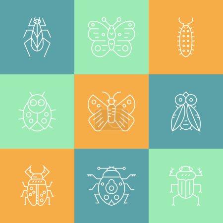 Set of bug line  icons