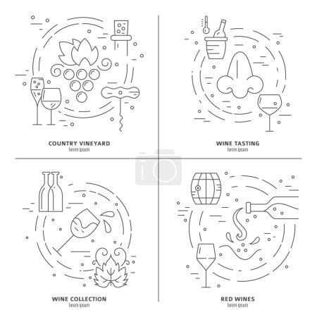 Illustration pour Concept vectoriel du processus de vinification. Symboles de vin fabriqués dans un style de ligne moderne. Élément de design parfait pour la publicité, les bannières et les prospectus . - image libre de droit