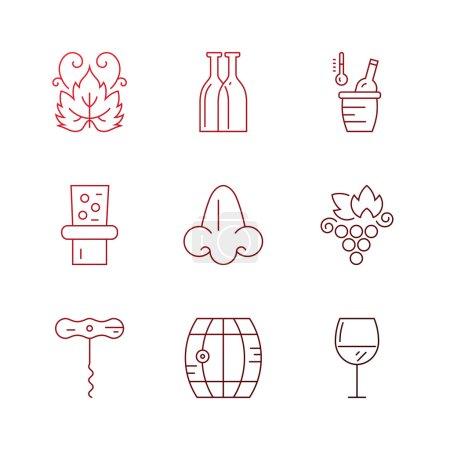 Illustration pour Unique ensemble moderne d'icônes avec différents symboles de vin et de vignoble. Icônes de ligne modifiables modernes et faciles isolés en arrière-plan - image libre de droit