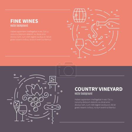 Illustration pour Flyers et bannières pour les réseaux sociaux, les pages web et les invitations. Différents symboles de l'industrie du vin, y compris verre, raisin, bouteille, tire-bouchon - image libre de droit