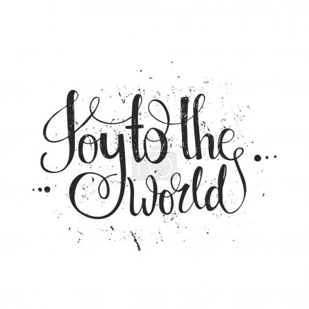 Illustration for Joy To The World - handdrawn lettering. Vector art. Great design element for congratulation cards, banners and flyers. Xmas design - Royalty Free Image
