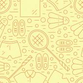 Seamless pattern with badminton rackets and sportswear
