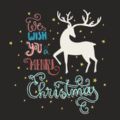 Christmas card with silhouette of deer