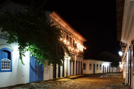 Night view of old colonial houses in historic downtown of Paraty