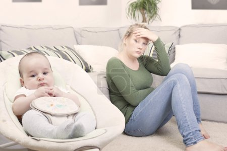 Young new mother suffering from postpartum depression
