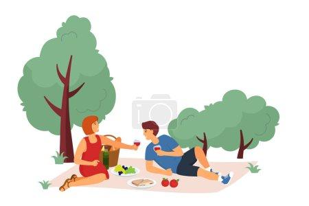 Illustration pour Illustration vectorielle du repos dans le parc de la ville. Jeune homme et jeune fille se relaxant sur un pique-nique sur l'herbe. Activités de plein air. Illustration vectorielle - image libre de droit