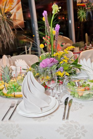 Meals served on party table