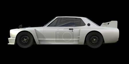 White sports coupe. White race car. Retro race. Japanese School tuning. Uniform black background. Three-dimensional model. Raster illustration.