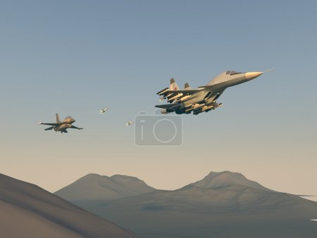 Turkish fighter attack on Russian bomber. Attack of the Turkish aircraft in the Russian plane. Raster illustration. Computer graphics. 3d model. The re-enactment of the battle over the desert.