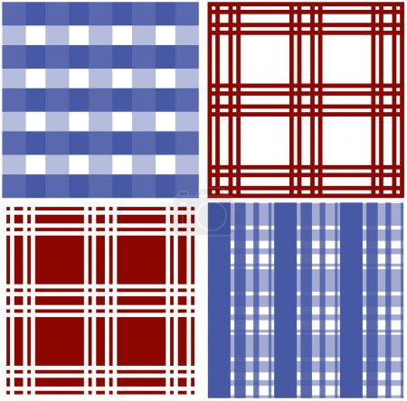 Set of stripes and squared pattern background