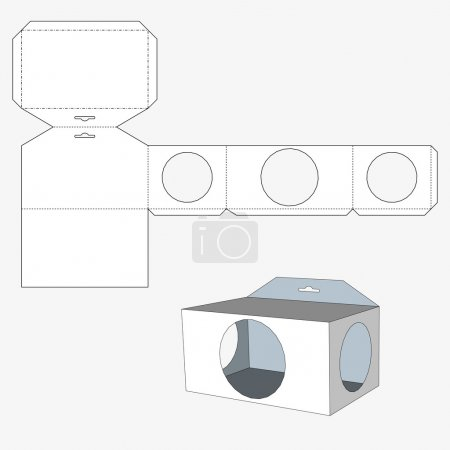 Box with circl windows. Packing box For Food, Gift Or Other Products. On White Background Isolated. Ready For Your Design.