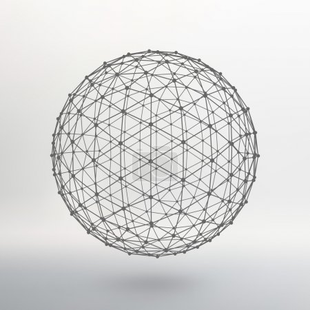 Scope of lines and dots. Ball of the lines connected to points. Molecular lattice. The structural grid of polygons. White background. The facility is located on a white studio background.