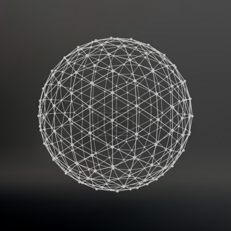 Scope of lines and dots. Ball of the lines connected to points. Molecular lattice. The structural grid of polygons. Black background. The facility is located on a black studio background.