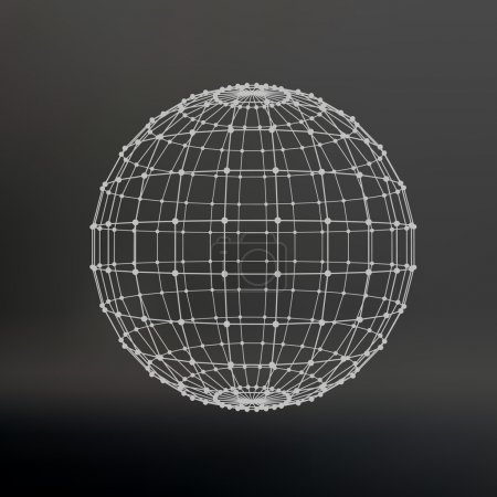 Illustration for Scope of lines and dots. Ball of the lines connected to points. Molecular lattice. The structural grid of polygons. Black background. The facility is located on a black studio background - Royalty Free Image