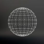 Scope of lines and dots Ball of the lines connected to points Molecular lattice The structural grid of polygons Black background The facility is located on a black studio background