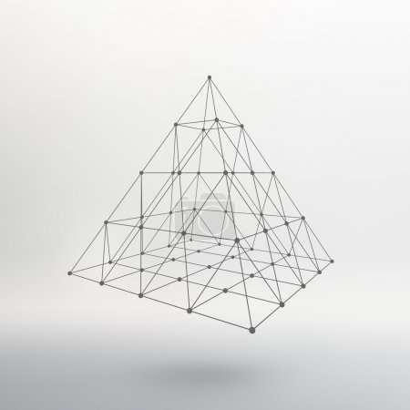 Illustration for Polygonal pyramid. Pyramid of the lines connected points. Atomic lattice. Driving a constructive solution of the pyramid. Vector Illustration EPS10 - Royalty Free Image