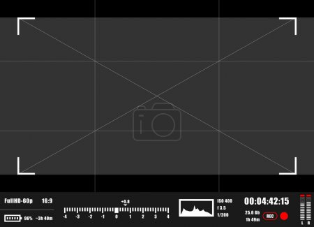 Camera viewfinder rec background. Camera focusing screen.