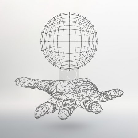 Illustration for Ball on the arm. The hand holding a sphere. Polygon ball. Polygonal hand. The shadow of the objects in the background - Royalty Free Image