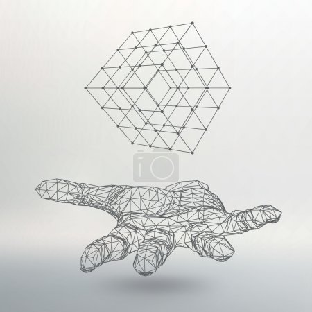 Illustration for Cube of lines and dots on the arm. The hand holding cube of the lines connected to points. Molecular lattice. The structural grid of polygons. White background. The facility is located on a white - Royalty Free Image