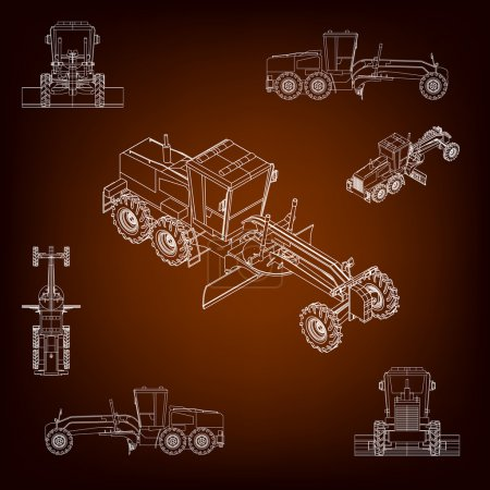 Grader, road scraper. Construction machinery. Parallel projection. Perspective view of the vehicle. Set of a plurality of images. Contour lines. Silhouettes of construction machinery.