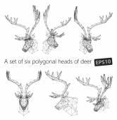 A set of polygonal heads of deer