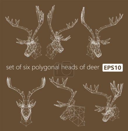 A set of polygonal heads of deer.