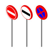 Isometric icons various road sign European and american style design Vector illustration eps 10