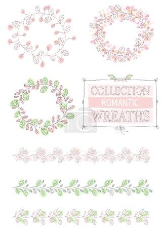 Illustration pour Motifs vectoriels dessinés à la main pour cartes postales romantiques - image libre de droit