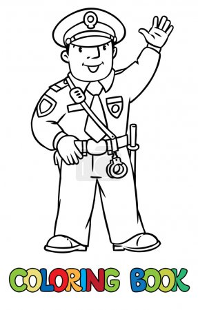 Illustration for Coloring picture or coloring book of funny policeman in uniform.   Profession series. Children vector illustration. - Royalty Free Image