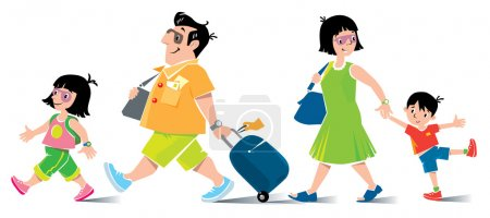 Illustration for Funny family in airport. Vector illustration of fast paced family, father with suitcase, in shorts and sneakers, litle girl, his daughter, goes ahead with backpack. Mother with son go behind them. - Royalty Free Image