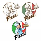 Emblem of funny cook or chef  or baker with pizza and logo on background colors of the Italian flag Two monochrome and one fullcolor version Children vector illustration